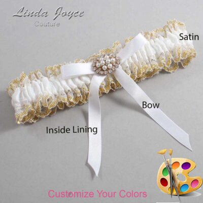 Couture Garters / Custom Wedding Garter / Customizable Wedding Garters / Personalized Wedding Garters / Christal #04-B04-M16 / Wedding Garters / Bridal Garter / Prom Garter / Linda Joyce Couture
