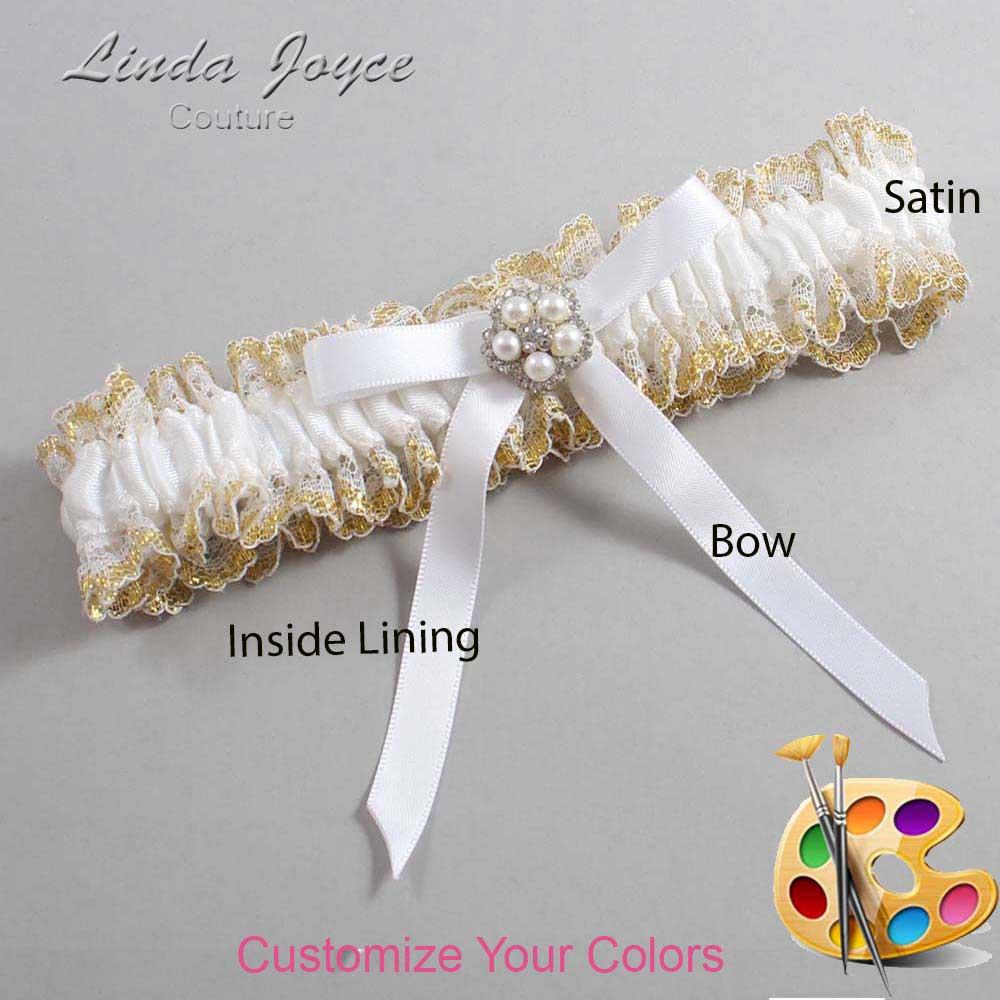 Customizable Wedding Garter / Cindi #04-B04-M20-Silver