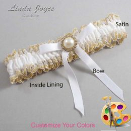Customizable Wedding Garter / Dixie #04-B04-M21-Gold