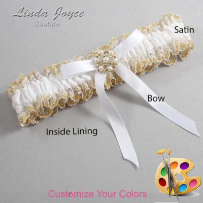 Customizable Wedding Garter / Dorinda #04-B04-M27-Silver