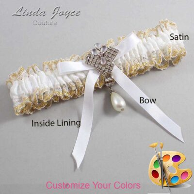 Couture Garters / Custom Wedding Garter / Customizable Wedding Garters / Personalized Wedding Garters / Estelle #04-B04-M33 / Wedding Garters / Bridal Garter / Prom Garter / Linda Joyce Couture