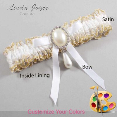 Couture Garters / Custom Wedding Garter / Customizable Wedding Garters / Personalized Wedding Garters / Eunice #04-B04-M35 / Wedding Garters / Bridal Garter / Prom Garter / Linda Joyce Couture