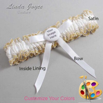 Couture Garters / Custom Wedding Garter / Customizable Wedding Garters / Personalized Wedding Garters / Custom Button #04-B04-M44 / Wedding Garters / Bridal Garter / Prom Garter / Linda Joyce Couture