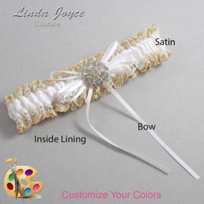 Customizable Wedding Garter / Amber #04-B10-M11-Silver