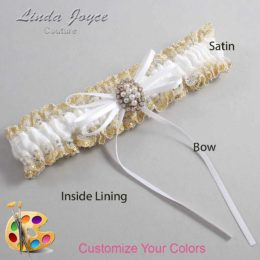 Customizable Wedding Garter / Gwen #04-B10-M17-Gold