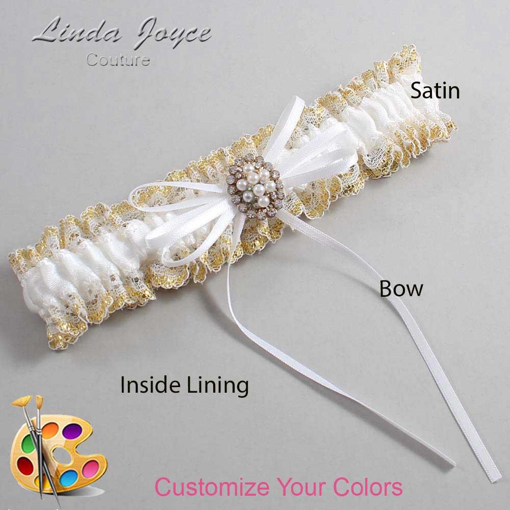 Customizable Wedding Garter / Gwen #04-B10-M17-Gold