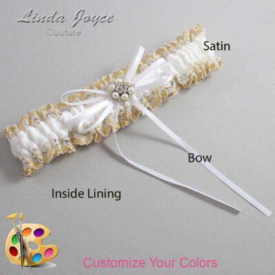 Customizable Wedding Garter / Ellen #04-B10-M23-Silver