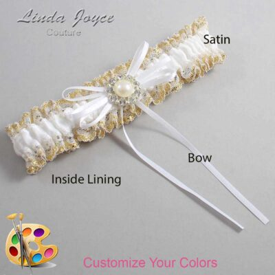 Couture Garters / Custom Wedding Garter / Customizable Wedding Garters / Personalized Wedding Garters / Irene #04-B10-M24 / Wedding Garters / Bridal Garter / Prom Garter / Linda Joyce Couture