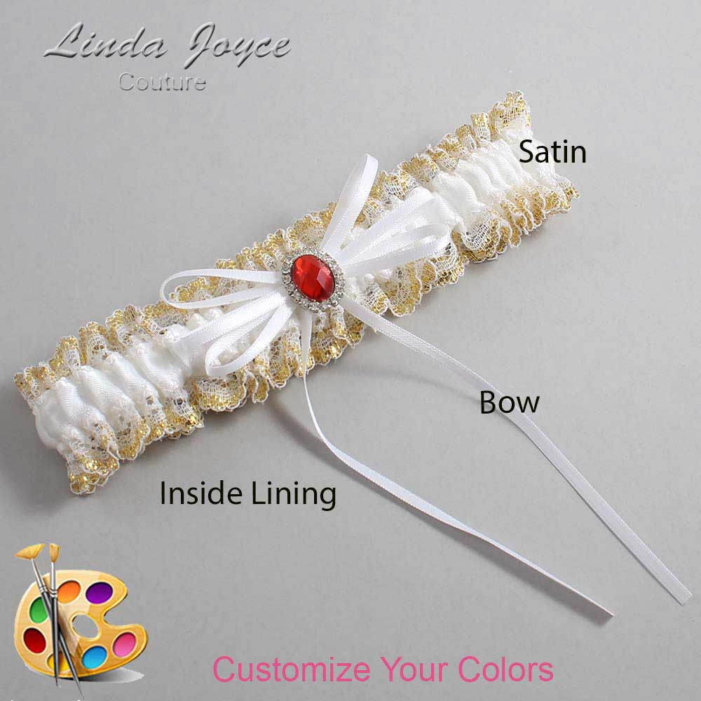 Customizable Wedding Garter / Mandy #04-B10-M26-Silver-Ruby