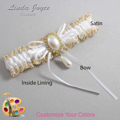 Customizable Wedding Garter / Andrea #04-B10-M34-Gold