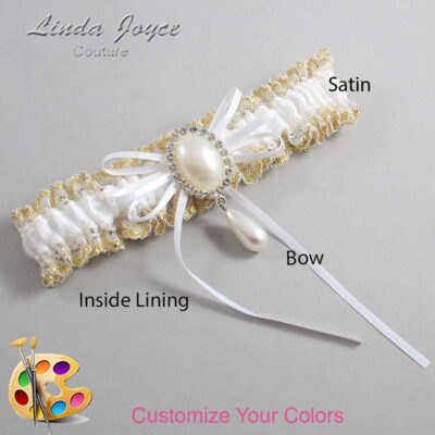 Couture Garters / Custom Wedding Garter / Customizable Wedding Garters / Personalized Wedding Garters / Andrea #04-B10-M35 / Wedding Garters / Bridal Garter / Prom Garter / Linda Joyce Couture