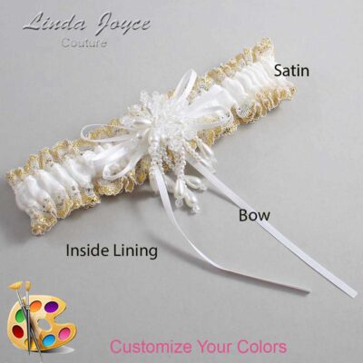 Customizable Wedding Garter / Layla #04-B10-M38-Pearl