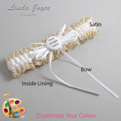 Couture Garters / Custom Wedding Garter / Customizable Wedding Garters / Personalized Wedding Garters / Custom Button #04-B10-M44 / Wedding Garters / Bridal Garter / Prom Garter / Linda Joyce Couture