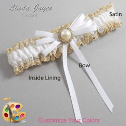 Customizable Wedding Garter / Delta #04-B11-M21-Gold