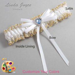 Customizable Wedding Garter / Dora #04-B11-M25-Silver-Light-Sapphire