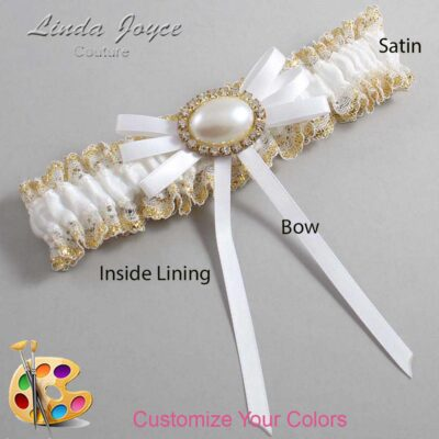 Customizable Wedding Garter / Emma #04-B11-M28-Gold