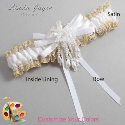 Customizable Wedding Garter / Gabrielle #04-B11-M38-Pearl
