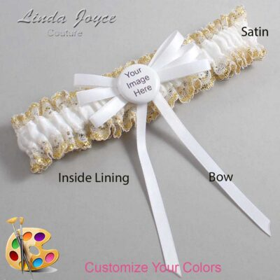 Couture Garters / Custom Wedding Garter / Customizable Wedding Garters / Personalized Wedding Garters / Custom Button #04-B11-M44 / Wedding Garters / Bridal Garter / Prom Garter / Linda Joyce Couture