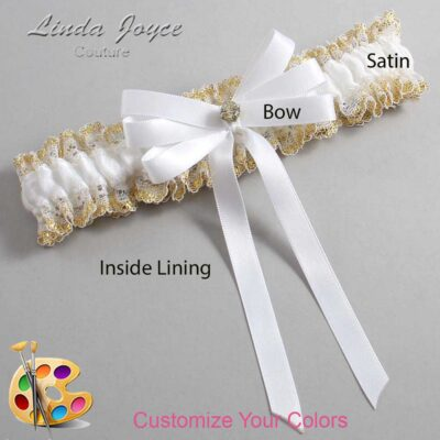 Customizable Wedding Garter / Venessa #04-B12-M03-Gold