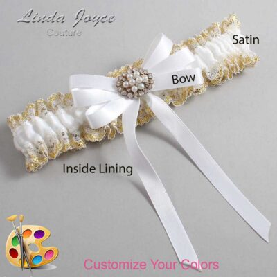 Customizable Wedding Garter / Tanya #04-B12-M16-Gold