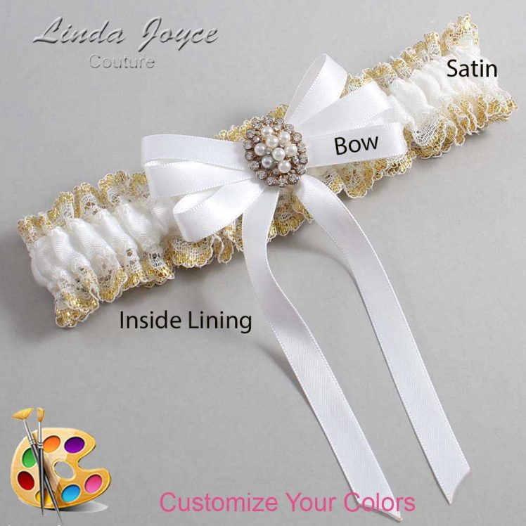 Couture Garters / Custom Wedding Garter / Customizable Wedding Garters / Personalized Wedding Garters / Whitney #04-B12-M17 / Wedding Garters / Bridal Garter / Prom Garter / Linda Joyce Couture