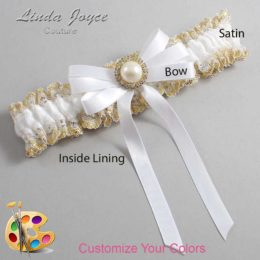 Customizable Wedding Garter / Carol #04-B12-M21-Gold