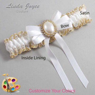 Customizable Wedding Garter / Zoe #04-B12-M29-Gold