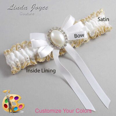 Customizable Wedding Garter / Zoe #04-B12-M31-Silver