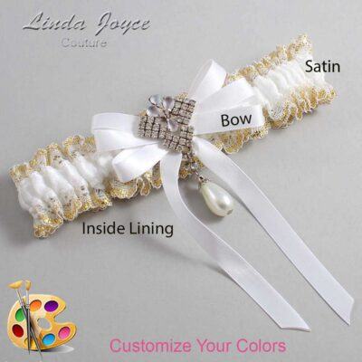 Customizable Wedding Garter / Priscilla #04-B12-M33-Silver