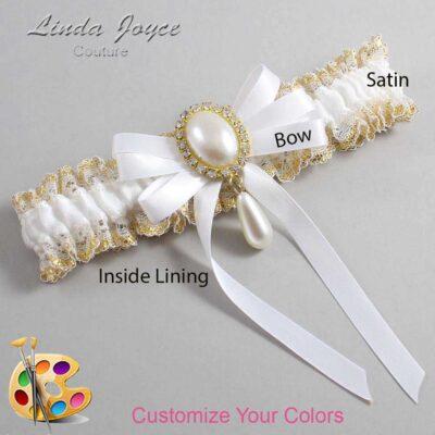 Customizable Wedding Garter / Yvonne #04-B12-M34-Gold