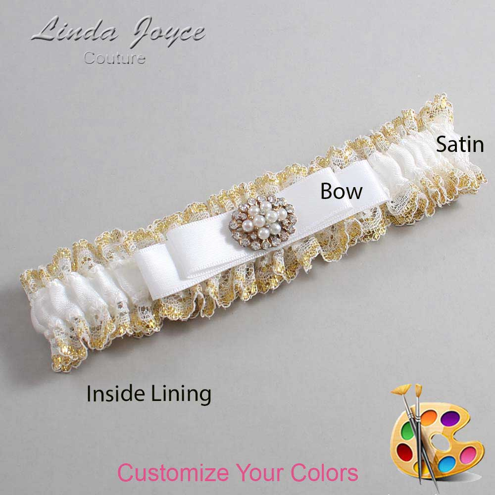 Customizable Wedding Garter / Lily #04-B20-M16-Gold
