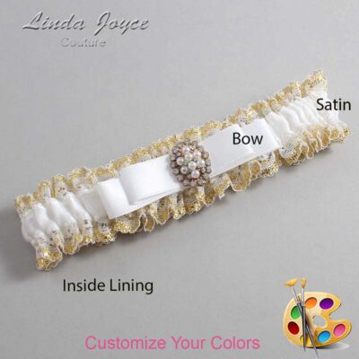 Couture Garters / Custom Wedding Garter / Customizable Wedding Garters / Personalized Wedding Garters / Inga #04-B20-M17 / Wedding Garters / Bridal Garter / Prom Garter / Linda Joyce Couture