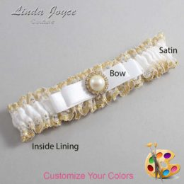 Customizable Wedding Garter / Jade #04-B20-M21-Gold