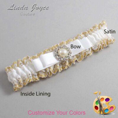 Customizable Wedding Garter / Brianna #04-B20-M24-Silver