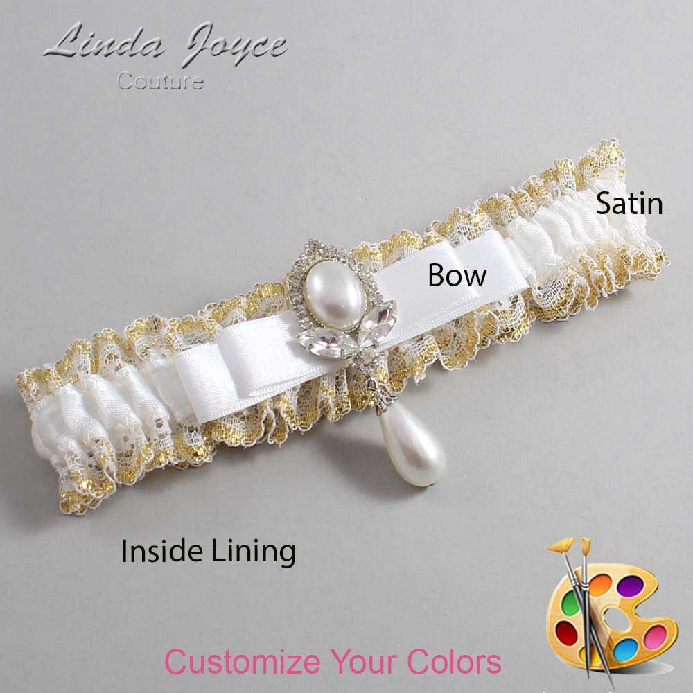 Customizable Wedding Garter / Joyce #04-B20-M32-Silver