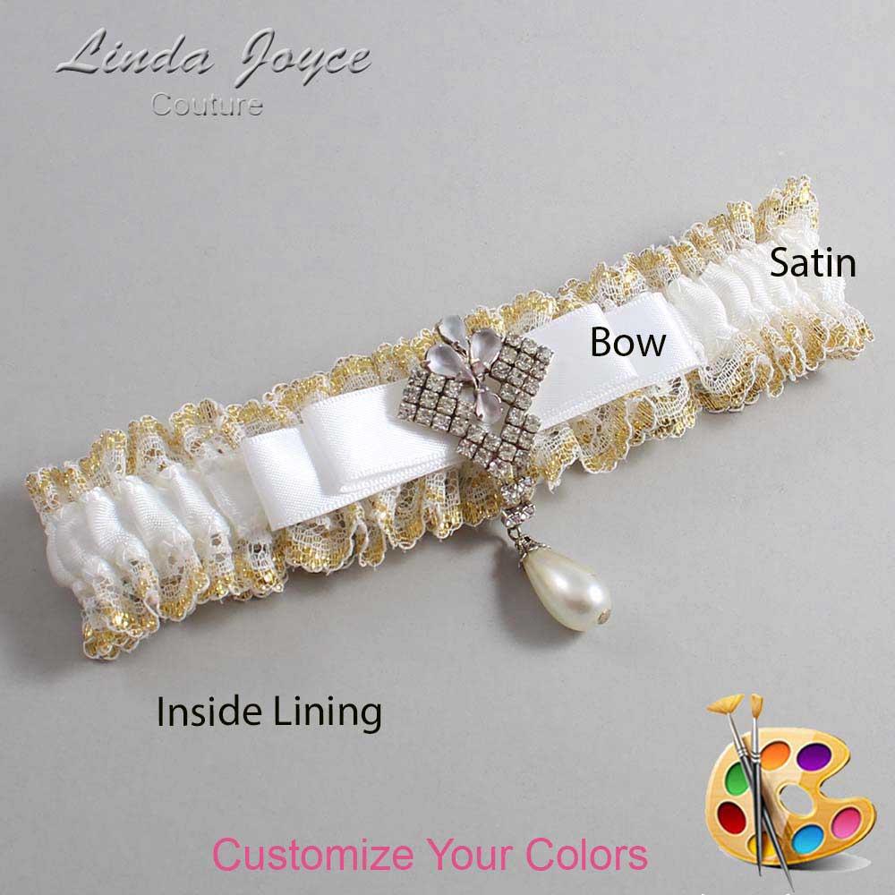 Customizable Wedding Garter / Miranda #04-B20-M33-Silver