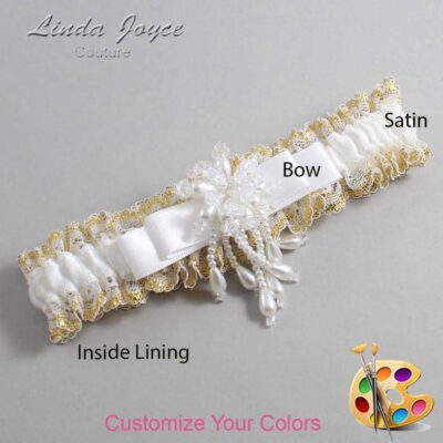 Couture Garters / Custom Wedding Garter / Customizable Wedding Garters / Personalized Wedding Garters / Regina #04-B20-M38 / Wedding Garters / Bridal Garter / Prom Garter / Linda Joyce Couture