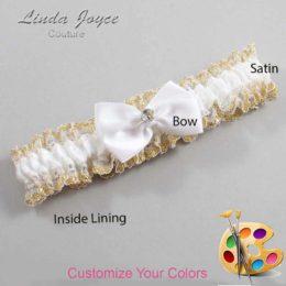 Customizable Wedding Garter / Melba #04-B21-M03-Gold