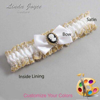 Customizable Wedding Garter / Brooke #04-B21-M15-Black-Gold
