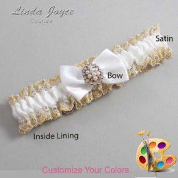 Customizable Wedding Garter / Betty #04-B21-M17-Gold