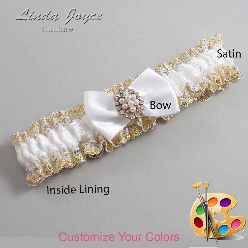 Customizable Wedding Garter / Betty #04-B21-M17-Gold