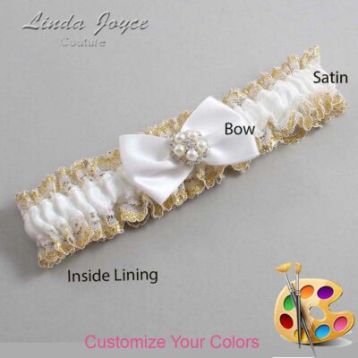 Customizable Wedding Garter / Britney #04-B21-M20-Silver