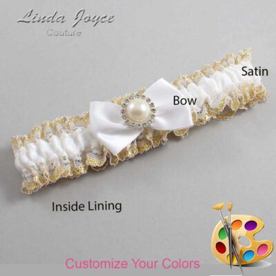 Customizable Wedding Garter / Carlene #04-B21-M22-Silver