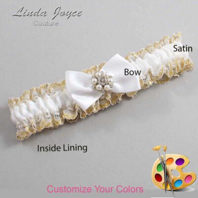 Customizable Wedding Garter / Alexia #04-B21-M23-Silver