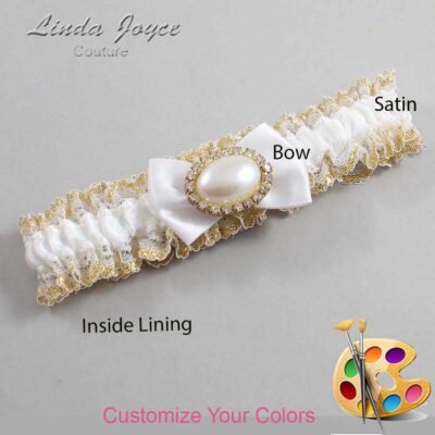 Customizable Wedding Garter / Bernie #04-B21-M28-Gold