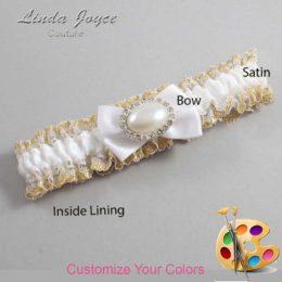 Customizable Wedding Garter / Bernie #04-B21-M30-Silver