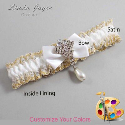 Couture Garters / Custom Wedding Garter / Customizable Wedding Garters / Personalized Wedding Garters / Constance #04-B21-M33 / Wedding Garters / Bridal Garter / Prom Garter / Linda Joyce Couture