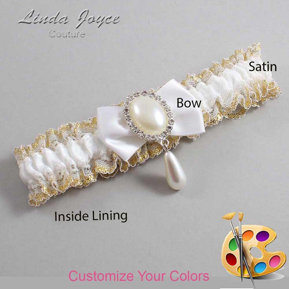 Customizable Wedding Garter / Victoria #04-B21-M35-Silver