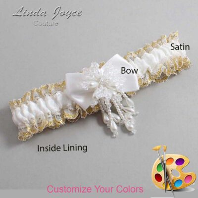 Couture Garters / Custom Wedding Garter / Customizable Wedding Garters / Personalized Wedding Garters / Lori #04-B21-M38 / Wedding Garters / Bridal Garter / Prom Garter / Linda Joyce Couture