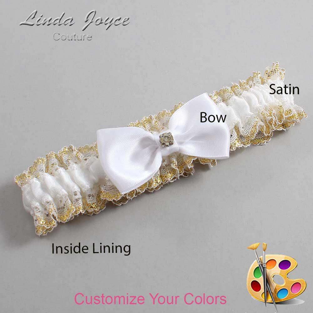 Customizable Wedding Garter / Jodi #04-B29-M03-Gold